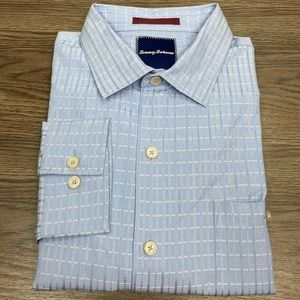 Tommy Bahama Light Blue Plaid Silk Shirt L